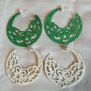 Glitter FILIGREE hoop earrings